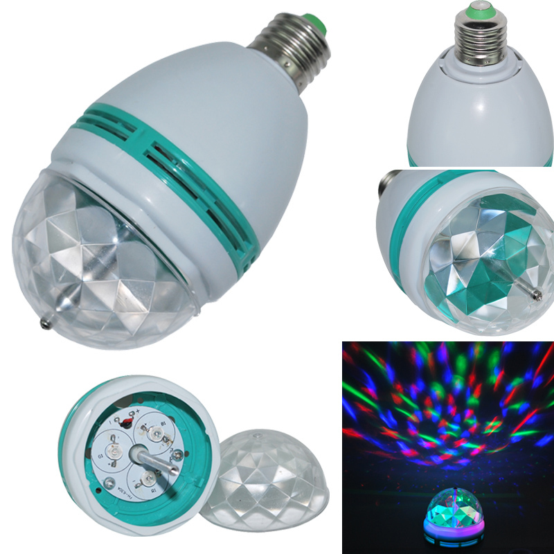 Hot Sale Crystal Magic Ball Stage Light Led E27 3W RGB Rotating Lamp For Party Disco