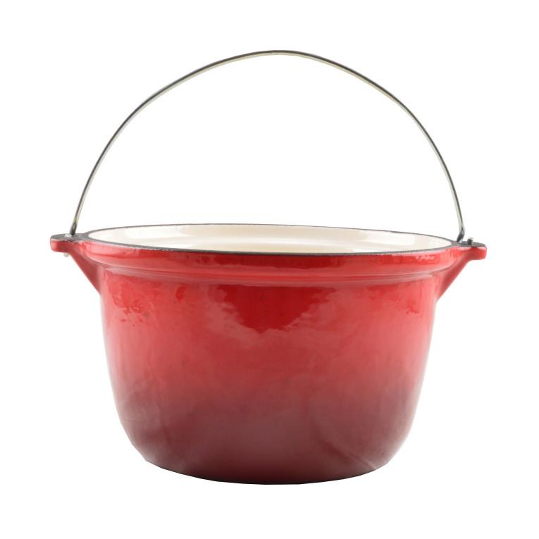 Zománcozott öntöttvas bogrács 3 literes piros